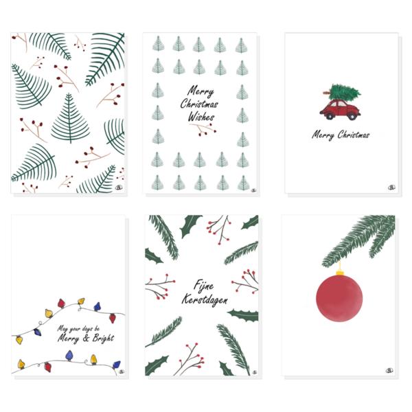 Ansichtkaarten set kerst. Set van 6 ansichtkaarten met verschillende thema's en teksten.