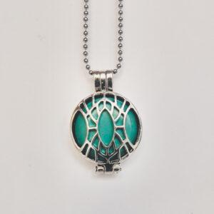 Ketting klein medaillon turquoise. Metalen medaillon met een natuursteen turquoise erin, aan een bolletjesketting. De steen kan worden verwisseld met andere kleuren. De bolletjes ketting is 48 cm lang. De steen heeft een diameter van 24 mm.