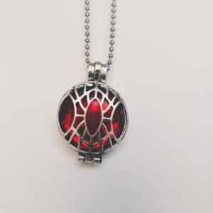 Ketting klein medaillon rood. Metalen medaillon met een rode steen erin, aan een bolletjesketting. De steen kan worden verwisseld met andere kleuren. De bolletjes ketting is 48 cm lang. De steen heeft een diameter van 24 mm.