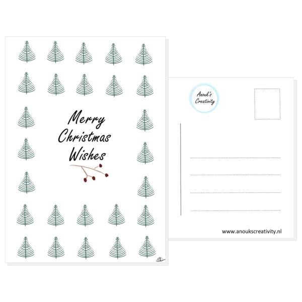 """Ansichtkaart merry christmas wishes. Ansichtkaart met de tekst """"Merry Christmas Wishes"""" en hangemaakte illustraties van kerstboompjes en een takje met rode besjes onder de tekst. De achterkant van de ansichtkaart is ook te zien, daarop staan lijntjes voor het adres en is er plaats voor een postzegel."""