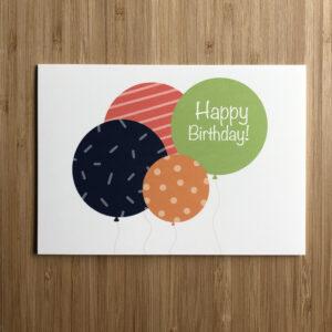 Wenskaart ballonnen met de tekst Happy birthday