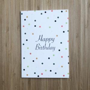 Wenskaart met confettie en de tekst Happy birthday.
