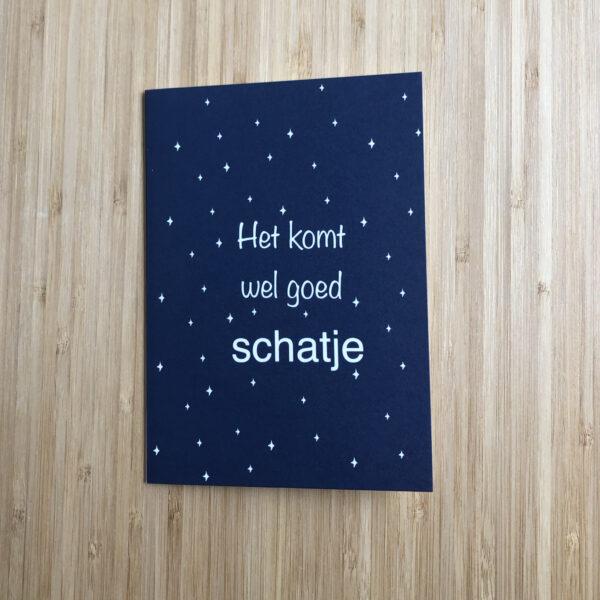 Wenskaart komt wel goed schatje. Blauwe kaart met witte sterren.