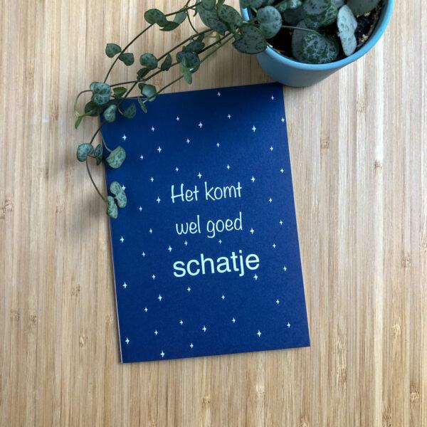 Wenskaart komt wel goed schatje. Blauwe kaart met witte sterren. Met een plantje.
