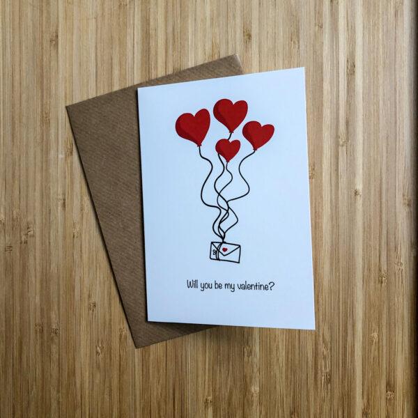 Wenskaart valentijns post met kraft envelop.