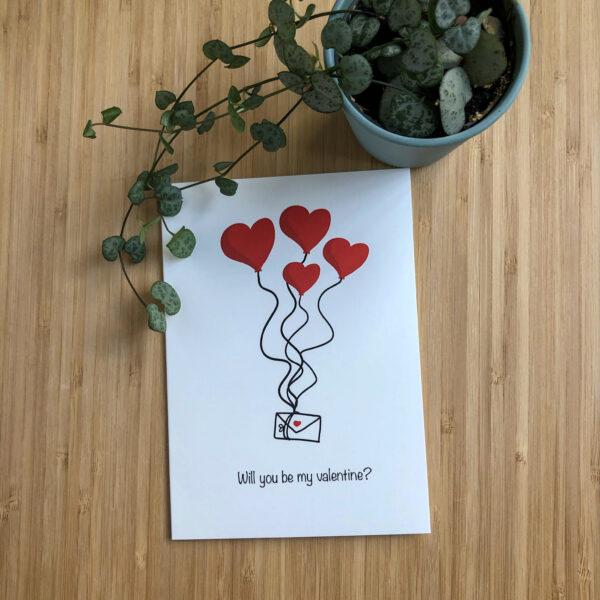 Wenskaart valentijns post met een plantje.
